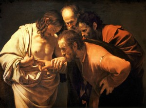 The Incredulity of Thomas, by Caravaggio (1601-1602)
