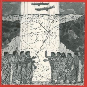 Drawing by Leonard Rosoman from the cover of Raymod Brown's Anchor Bible Commentary on The Epistles of John (1982).